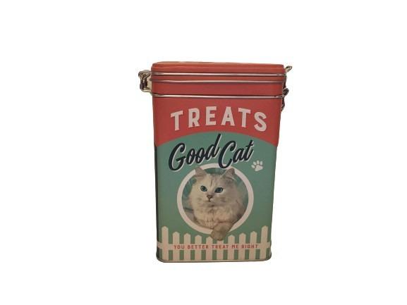 Plåtburk för kattgodis eller kattmat.