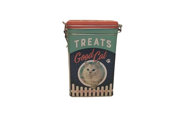 Plåtburk med en katt på, perfekt till kattgodiset.