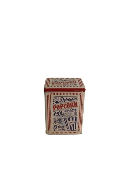 Plåtburk för popcorn med gammeldags stil.