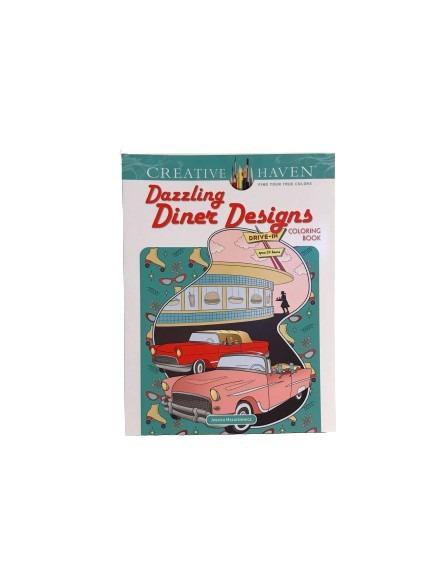 Målarbok, drive-ins från 1950-talet, mat och inredning.