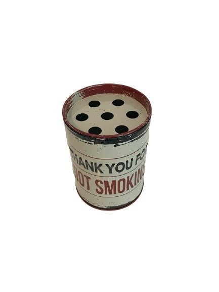 Fimpburk i plåt, oljefat med old look, thank you for not smoking.