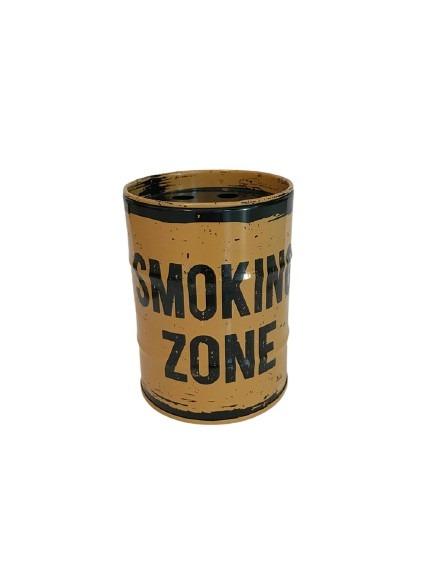 Fimpburk i plåt, oljefat med old look i svart och gult, smoking zone.
