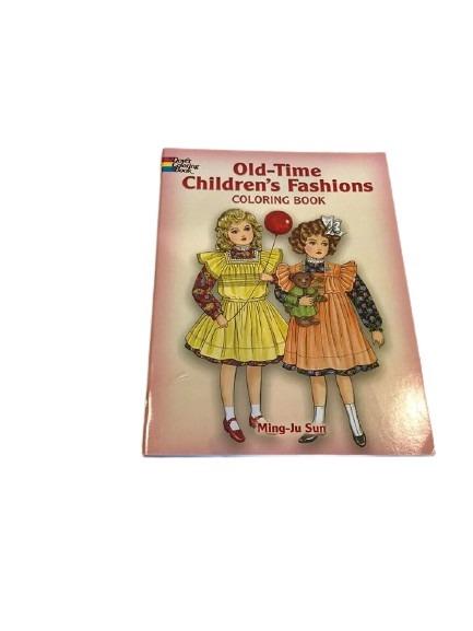 Målarbok med barn med kläder från förr, långt tillbaka.