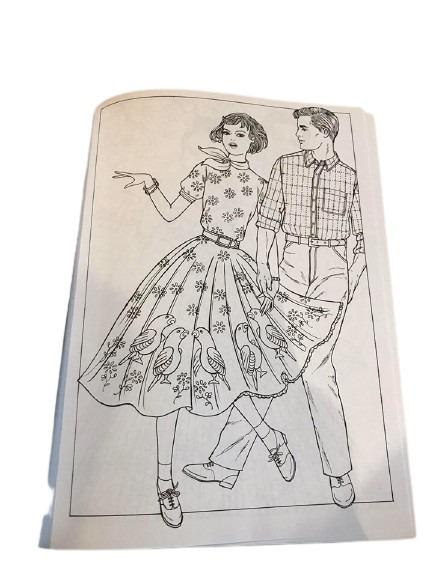 50-tals kläder kan du färglägga i denna målarbok.