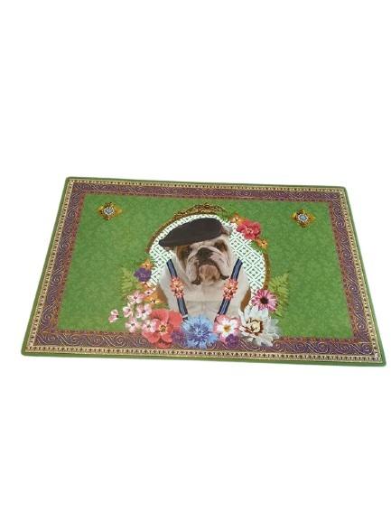 Plastunderlägg till matskålar för hundar, grön med en hund och blommor på.
