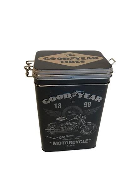 Svart plåtburk att ha kaffet i, motorcykeltema genom hela burken.