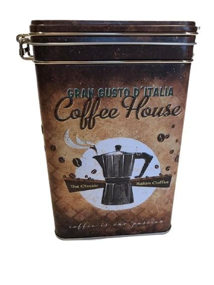 Plåtburk för kaffe, the classic italian coffee och en kaffekanna som motiv.