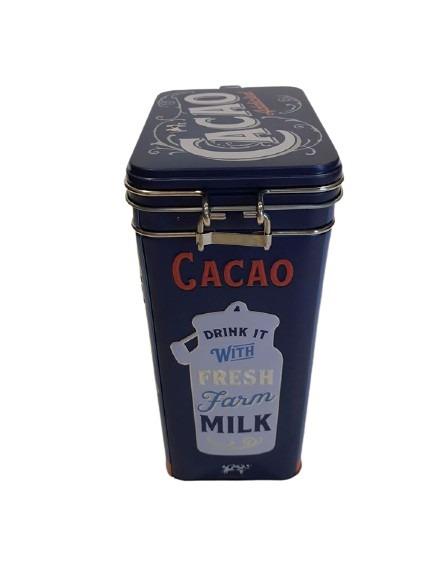 Burk i plåt för kakao eller oboy, en mjölkkanna som motiv.