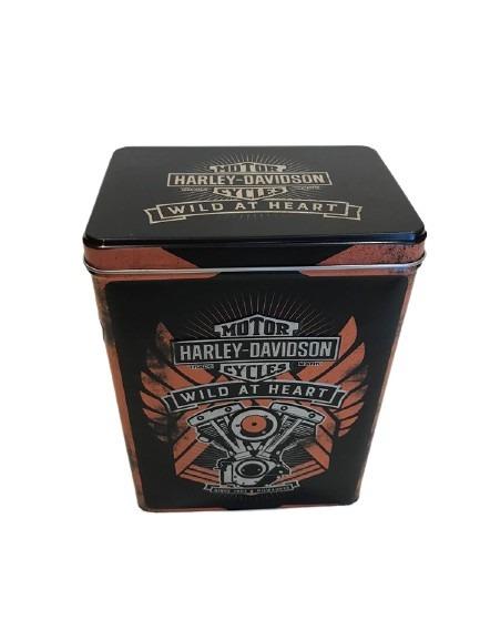 Tuff plåtburk svart och orange, Harley Davidson med en motor som motiv.