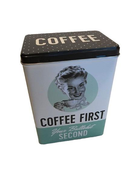Plåtburk för kaffet, coffee first.