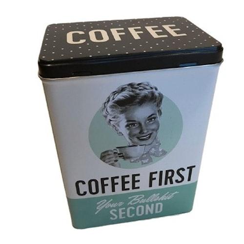 "Plåtburk Hög ""Coffee First"""