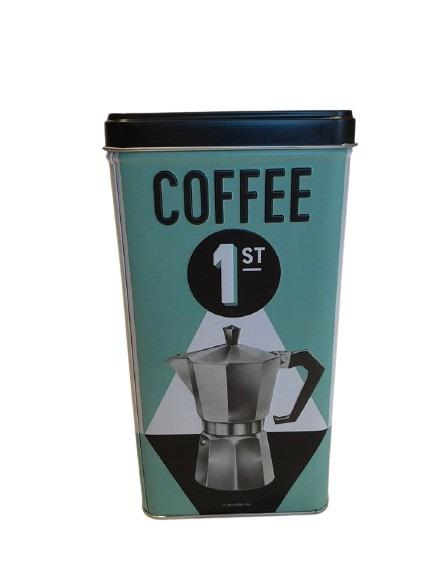 Kaffe nummer 1 och en gammal kaffekanna som motiv på denna plåtburk.