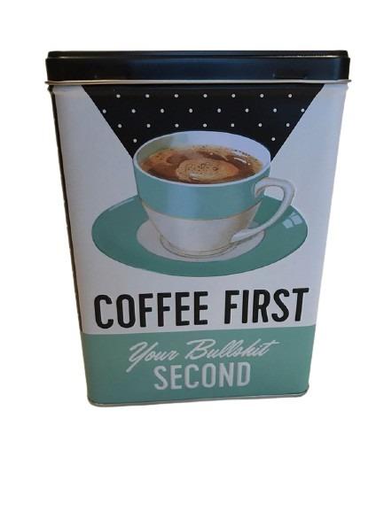Förvaringsburk till köket med en kaffekopp med fat som motiv.