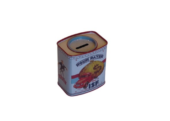 En liten sparbössa i plåt med en pickup och pengasäck som motiv.