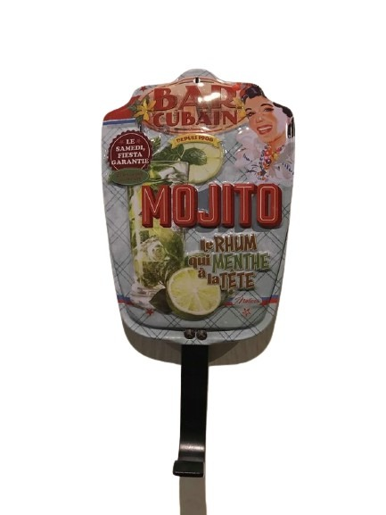 Hängare eller krok med mojito som motiv i plåt.