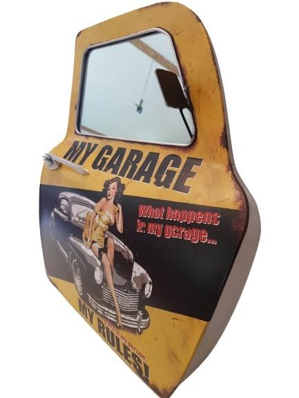Plåtdörr med spegel i, my garage my rules, gul med svart text m.m.