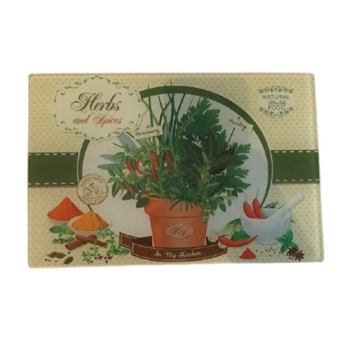 "Skärbräda i glas ""Herbs and Spices"""