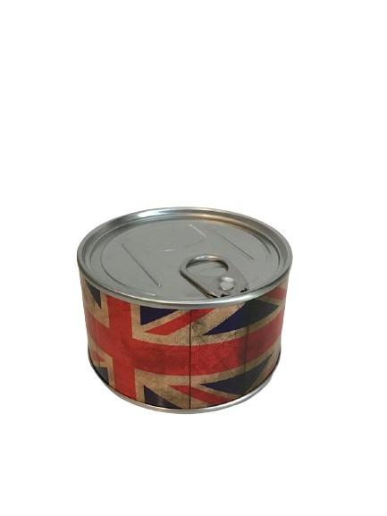 Klocka i en konservburk med Union Jack som motiv.