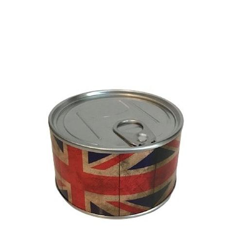 """Klocka i konservburk med magnet """"Storbritanniens flagga"""""""