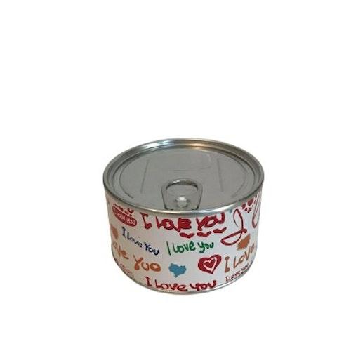 "Klocka i konservburk med magnet ""I Love You"""