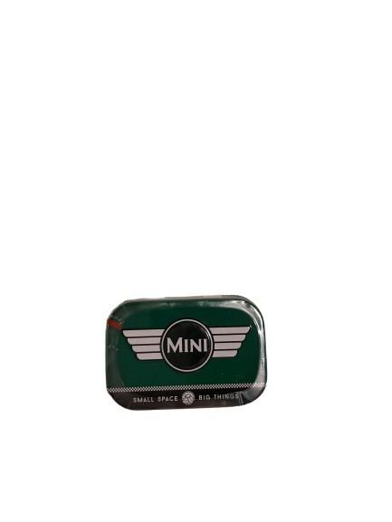Grön liten ask i plåt för mintpastiller, mini.