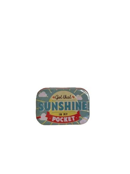 Blå plåtask för minttabletter, sunshine.