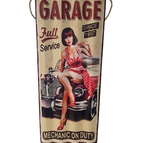 """Plåtskylt Vågig """"Garage"""""""