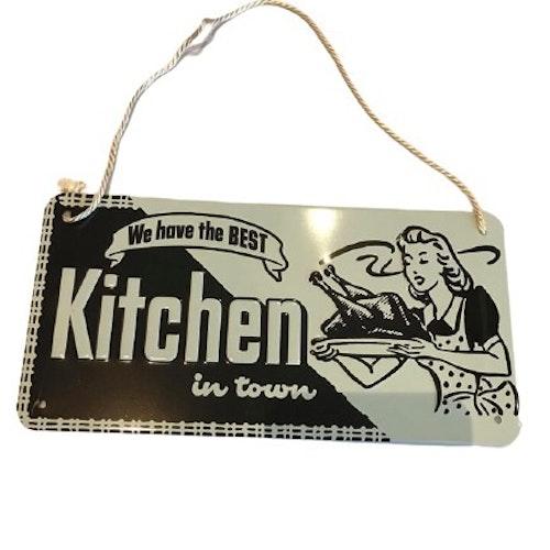"""Plåtskylt med hänge 10x20cm """"Best Kitchen"""""""