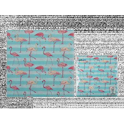 Blå/turkosa servetter med rosa flamingos på, 20st.