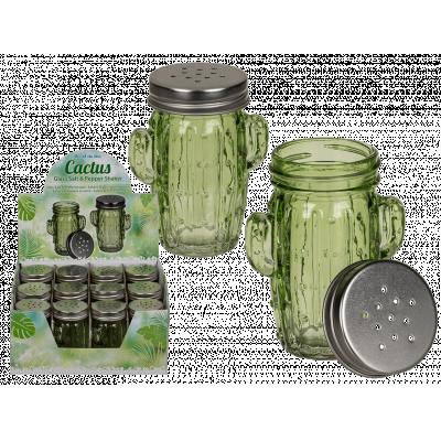 Salt och pepparkar i glas med metallock, kaktus, gröna.
