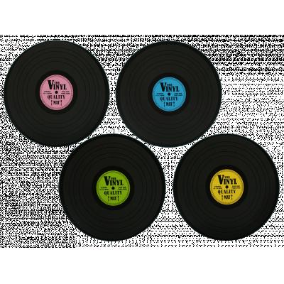 Bordstabletter som ser ut som vinylskivor, 4 pack.