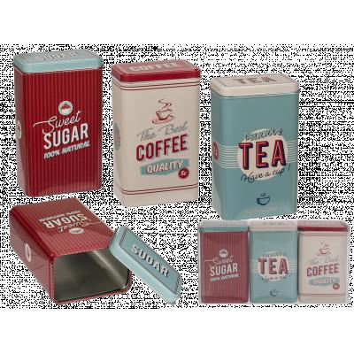3ST Plåtburkar, sugar, coffee & tea, retrolook.
