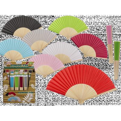 Solfjädrar i bambu i olika färger.