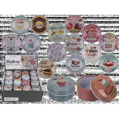 Mini plåtburkar med olika motiv, bakery.
