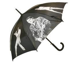 Svart paraply med Elvis Presley på i olika poser.