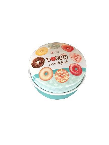 Donuts som motiv på locket på denna miniburk i plåt.