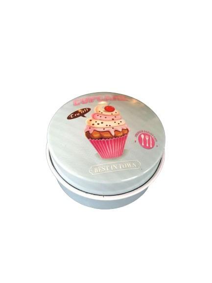 Blågrön liten burk i plåt, cupcake.