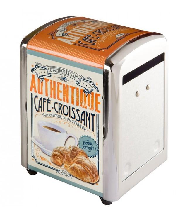 Servettställ Croissant, orange, vit och grön, old look.