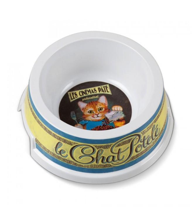 Kattmatskål med motiv av en katt som äter mat, rejäl i plast.