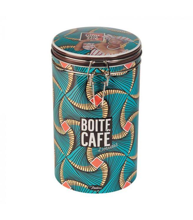 Rund kaffeburk i plåt med mönster på, grönblå och brun.