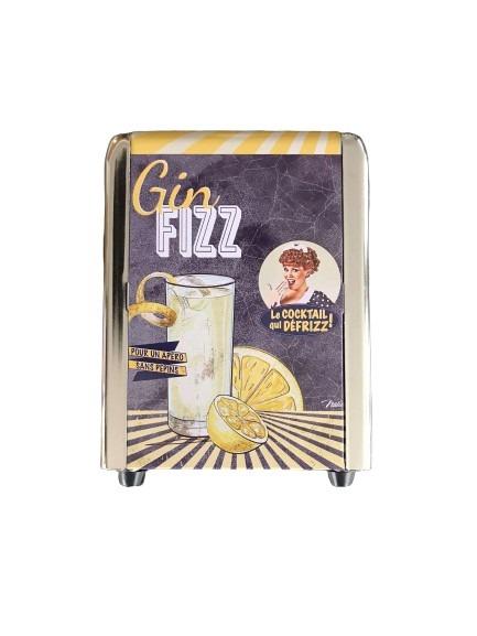 Gin Fizz drink som motiv på detta servettställ i plåt.