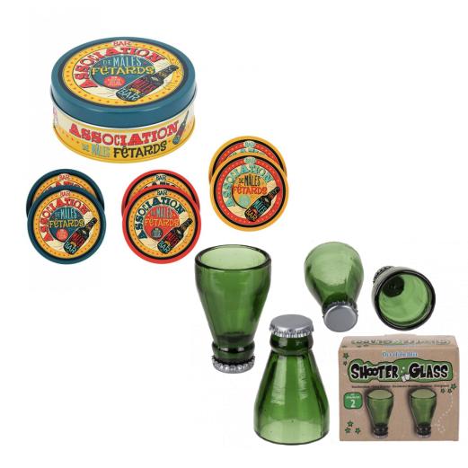 6-pack Glasunderlägg i plåtburk, i plåt med korkbotten, snapsglas upp och ned ölflaska 2 pack.
