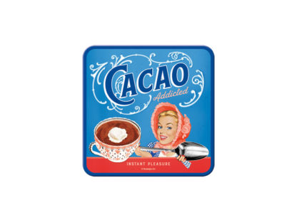 Blåa glasunderlägg i plåt med korkbotten, cacao.