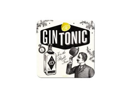 Svartvita glasunderlägg med texten gon tonic, i plåt med korkbotten.