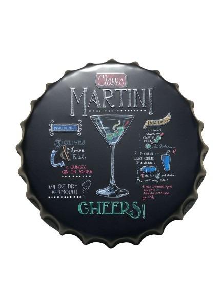 Svart kapsyl i plåt, martini som motiv.