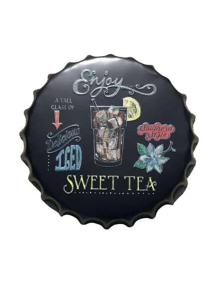 Plåtskylt kapsyl, svart med sweet tea som motiv.