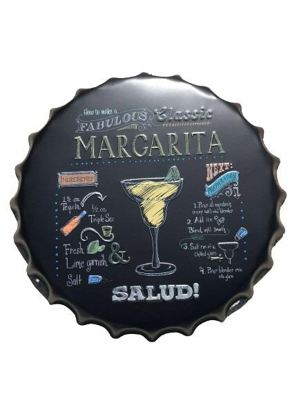Margarita som motiv på denna skylt i plåt, kapsylformad.