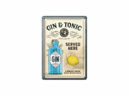 Plåtvykort med temat gin & tonic.