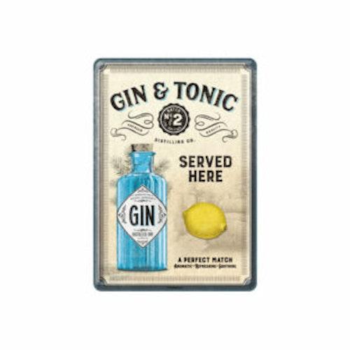 "Plåtskylt Vykort 10x14cm ""Gin & Tonic"""