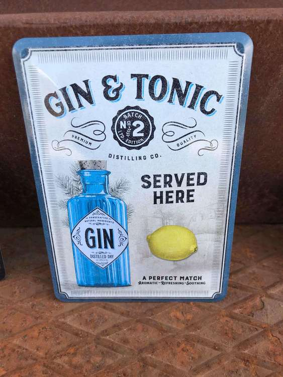 Plåtvykort Gin & Tonic.